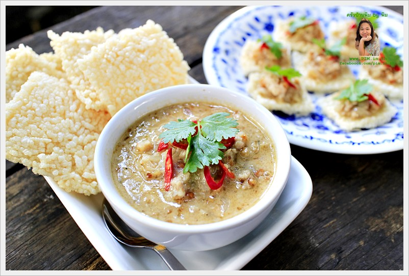 rice crackers with minced shrimp and pork dip 11